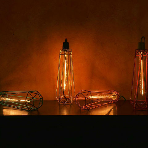 Filament Style - Deckenlampe Hängelampe-Filament Style-DIAMOND 2 - Suspension Bleu câble Orange Ø12cm | L