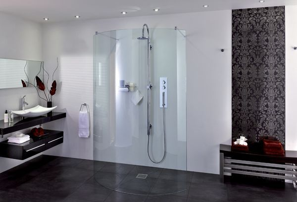 Aqata Shower Enclosures - Duschwand-Aqata Shower Enclosures-Spectra SP395 Curved Double Entry