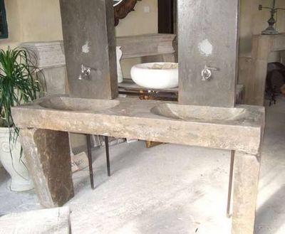 LES MEMOIRES D' ADRIEN - Doppelspülbecken-LES MEMOIRES D' ADRIEN-Evier double ancien pour salle de bain