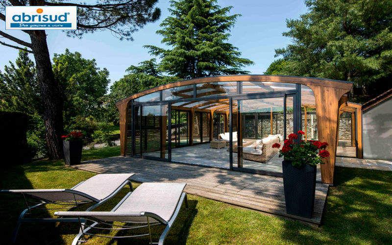 Abrisud Cubierta de piscina alta fija adosada Cabinas de piscina Piscina y Spa Jardín-Piscina | Design Contemporáneo