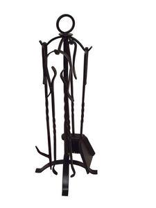 Aubry-Gaspard - valet de cheminée 4 accessoires en fer forgé - Servidor De Chimenea