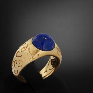Expertissim - bague en or sertie d'un cabochon de lapis-lazuli - Anillo