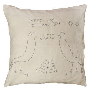 Sugarboo Designs - pillow collection - two birds stitched - Cojín Cuadrado