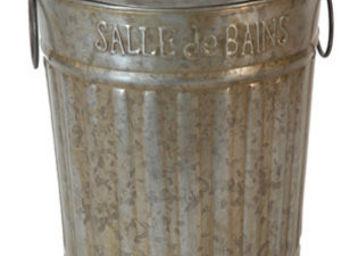 Antic Line Creations - poubelle de salle de bain en zinc 20x26cm - Cesto Para La Ropa