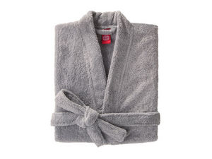 BLANC CERISE - peignoir col kimono - coton peigné 450 g/m² gris - Albornoz