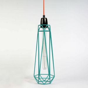 Filament Style - diamond 2 - suspension bleu câble orange ø12cm | l - Lámpara Colgante