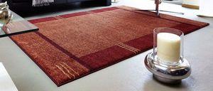 WHITE LABEL - samoa design tapis patchwork bordeaux et orange -  - Alfombra Contemporánea