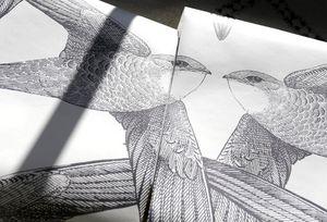 Bien Fait - white birds - Papel Pintado