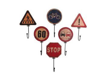 Antic Line Creations - set 6 patères panneaux de signalisation - Colgador