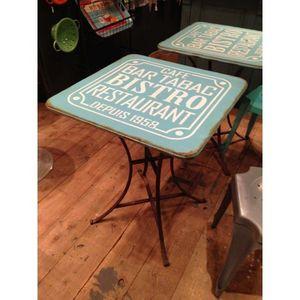 Mathi Design - table carrée bistro bleue - Comedor