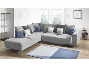 BOBOCHIC - canapé grand angle london gris angle gauche - Sofá De Esquina