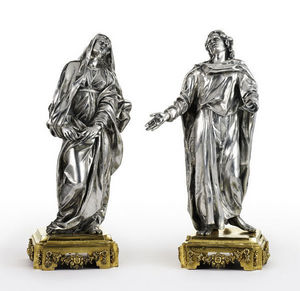 Dario Ghio Antiquites - statuettes en argent, vierge et st jean - Escultura