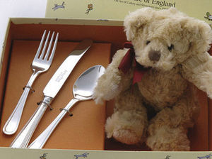 Arthur Price - silver plated child's cutlery set with teddy bear - Cubiertos Para Niño