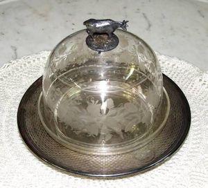Antiquités Christiaens - cloche à fromage en cristal de bohême xixème - Campana De Queso