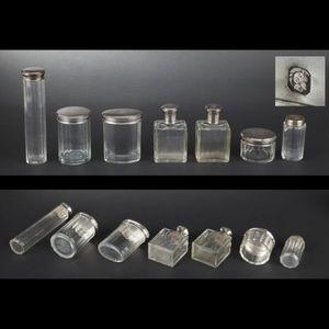 Expertissim - garniture de toilette en cristal et argent - Frasco De Cuarto De Baño