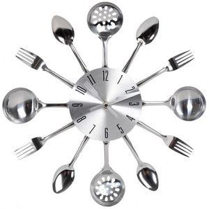 Maisons du monde - horloge ustensiles chrome - Reloj De Cocina