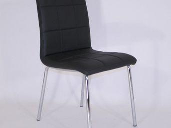 CLEAR SEAT - chaises simili cuir matelassées batz noires lot de - Silla Apilable