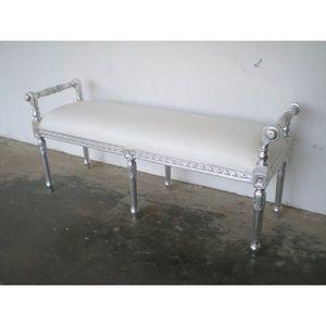 DECO PRIVE - bout de lit en bois argente et imitation cuir blan - Banqueta De Dormitorio