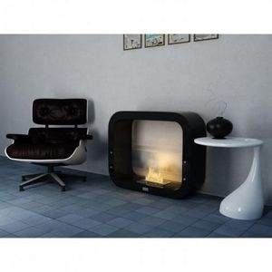 WHITE LABEL - chemine thanol cosy noir laque - Chimenea Sin Conducto De Humo