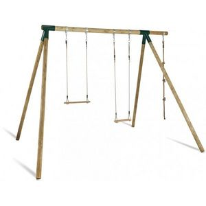 JARDIPOLYS - portique en bois avec balançoire, trapèze, corde - Pórtico