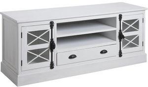 Aubry-Gaspard - meuble tv en pin blanc saga - Mueble Tv Hi Fi