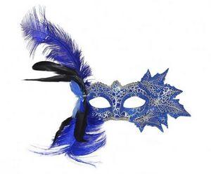Demeure et Jardin - masque loup vénitien feuilles et plumes bleues - Máscara