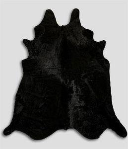 WHITE LABEL - tapis en peau de vache noir - Piel De Vaca
