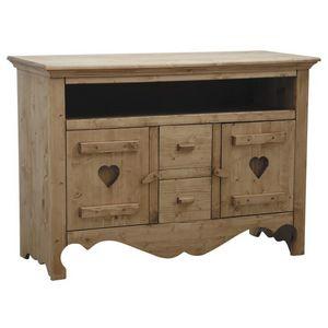 Aubry-Gaspard - meuble tv en épicéa ciré miel coeur - Mueble Tv Hi Fi