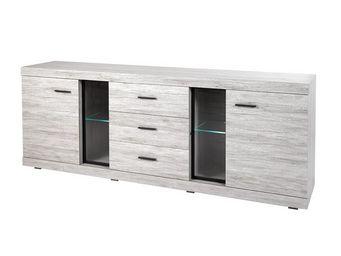 WHITE LABEL - buffet 2 portes 3 tiroirs - rejy - l 243 x l 48 x - Aparador Bajo