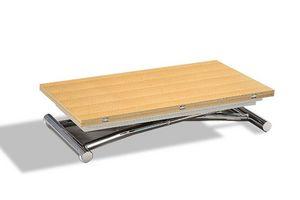 WHITE LABEL - table basse high and low chêne clair relevable ext - Mesa De Centro De Altura Regulable