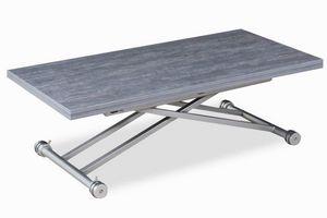 WHITE LABEL - table basse updown relevable extensible chêne gris - Mesa De Centro De Altura Regulable
