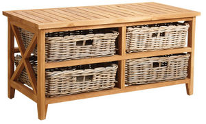 Aubry-Gaspard - table basse en teck avec 4 tiroirs - Mesa De Centro Rectangular