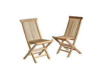 BOIS DESSUS BOIS DESSOUS - lot de 2 chaises de jardin pliantes en bois de tec - Silla De Jardín Plegable