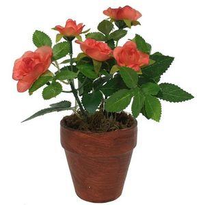 CHEMIN DE CAMPAGNE - rosier artificiel corail 17 cm - Flor Artificial