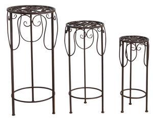 Aubry-Gaspard - sellettes rondes en métal vieilli (lot de 3) - Pedestal