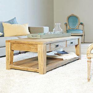 BOIS DESSUS BOIS DESSOUS - table basse en bois de teck recyclé cargo 120 rect - Mesa De Centro Cuadrada