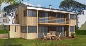 Casa con marco de madera