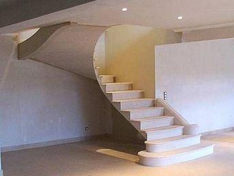 Atelier Alain Edouard Bidal - ba28 escalier en pierre de lens - Escalera Dos Cuartos De Giro