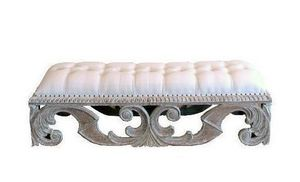 DECO PRIVE - banc pegasus ceruse tissu blanc - Banqueta De Dormitorio