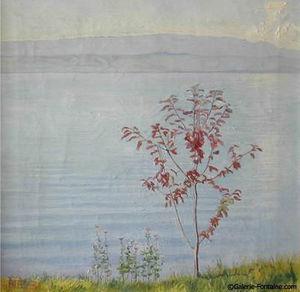 Fontaine - le lac léman - Óleo Sobre Tela Y Óleo Sobre Panel