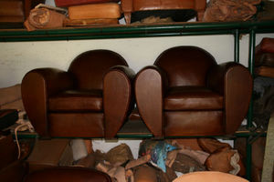 Fauteuil Club.com - paire de grand fauteuil club rond - Sillón Club