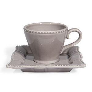 MAISONS DU MONDE - tasse et soucoupe café grise castel - Taza De Café