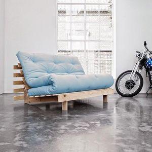WHITE LABEL - canapé bz style scandinave roots futon bleu celest - Banqueta Bz