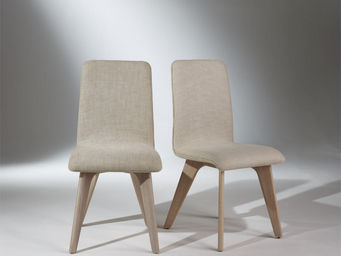 Robin des bois - 2 chaises, chêne et lin, pieds fuselés, sixty - Silla