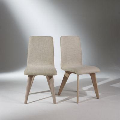 Robin des bois - Silla-Robin des bois-2 Chaises, chêne et lin, pieds fuselés, SIXTY