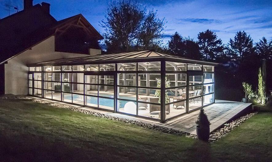 Cover concept Copertura alta addossata per piscina Coperture per piscine Piscina e Spa  |