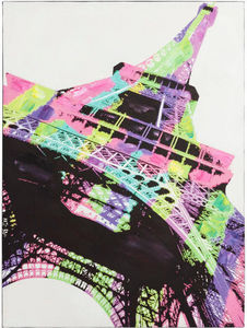 KOKOON DESIGN - toile peinte eiffel pop structure bois 90x120cm - Quadro Decorativo