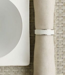 CHILEWICH - stainless steel napkin ring in white - Portatovagliolo