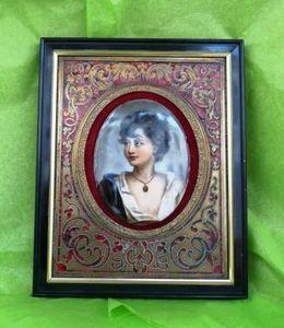 Art & Antiques - peinture sur porcelaine et cadre boulle - Cornice Portafoto