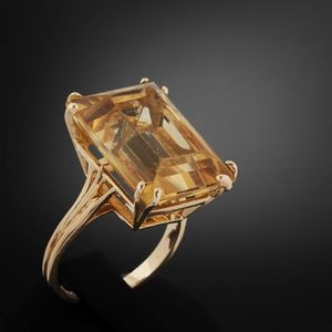 Expertissim - bague or et citrine - Anello
